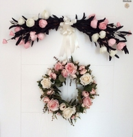 Simulation Rose Flower Garland Ornaments Doors Decorated Heart Shaped Artificial Flowers Wreath Lintel Home Wedding Decorations