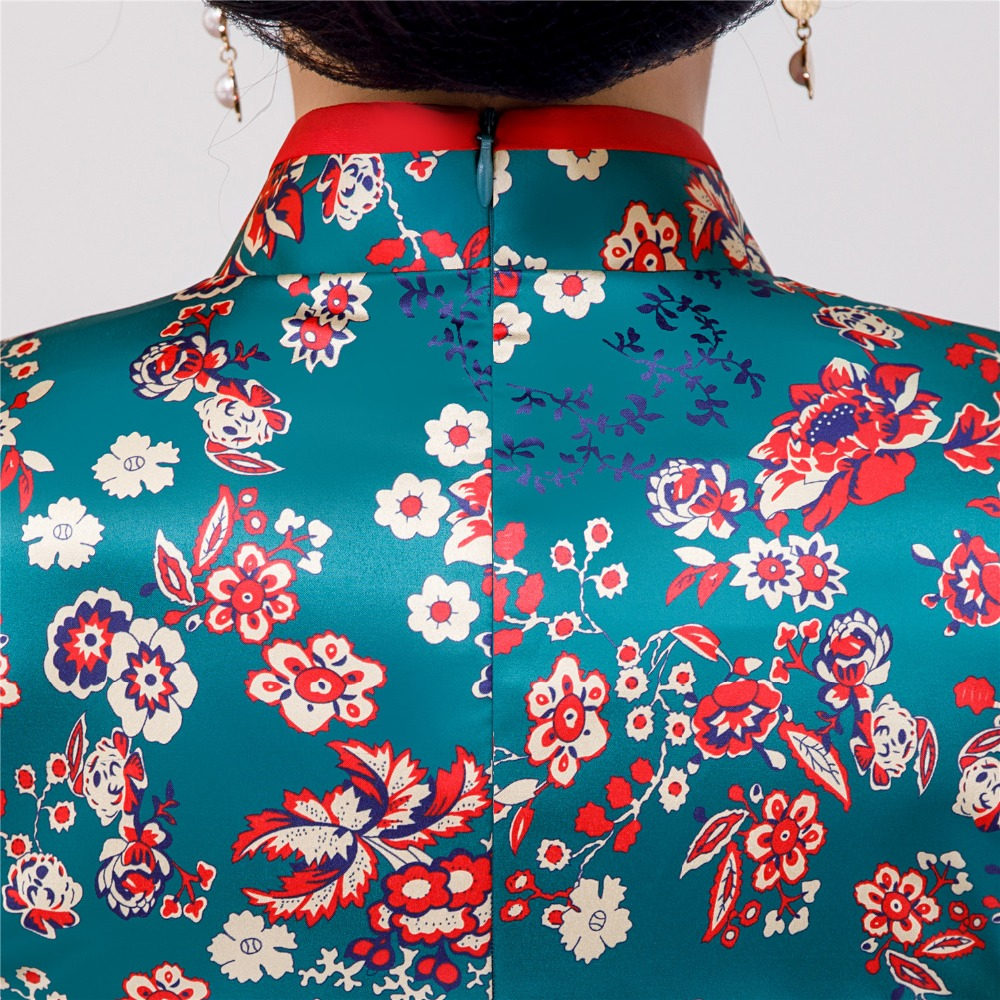 9ed0f1b9421 Shanghai Story Floral Cheongsam Shirt Qipao Top 3 4 Sleeve Chinese  Traditional Top Faux Silk Chinese Blouse For Women-in Tops from Novelty    Special Use on ...
