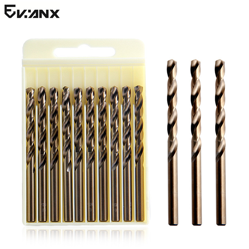 EVANX Drill Bit 1-13mm HSS Cobalt Twist Drill M35 Metal Cutter For Stainless Steel Copper, Aluminum, Zinc Alloy evanx 40 pcs twist drill bit set hss