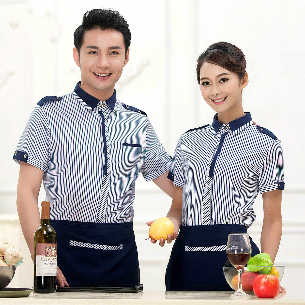 Zomer Restaurant Food Service Ober Uniform Mannen Cafe Chef Uniform Vrouwen Hotel Serveerster Uniform Koffie Winkel Personeel Overalls