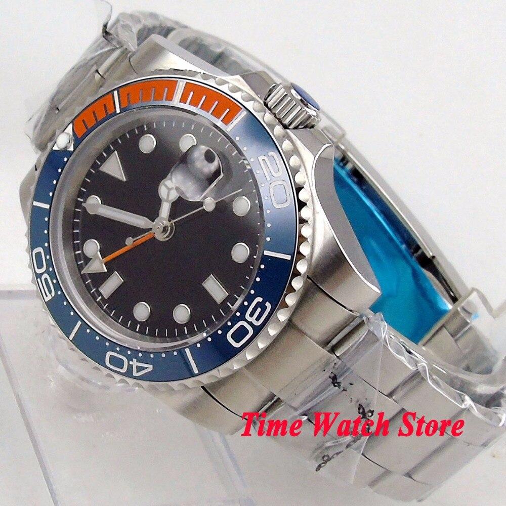 Solid 40mm GMT men's watch black sterile dial luminous saphire glass Ceramic Bezel Automatic movement wrist watch men 144