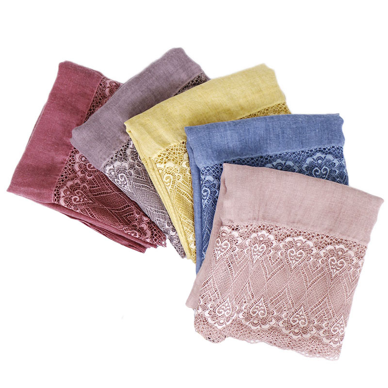 Ladies lace hijab scarf shawls muslim Solid lightweight scarves plain bandhnu cotton wraps fashion headband scarves