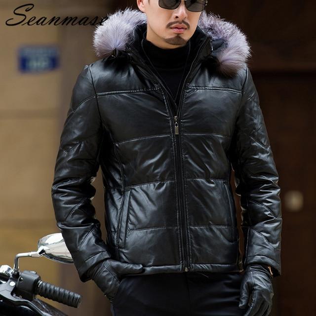 € 82.97 50% de réduction|Veste en duvet de canard blanc pour hommes avec capuche en fourrure de renard véritable manteau de Trench chaud en cuir PU à