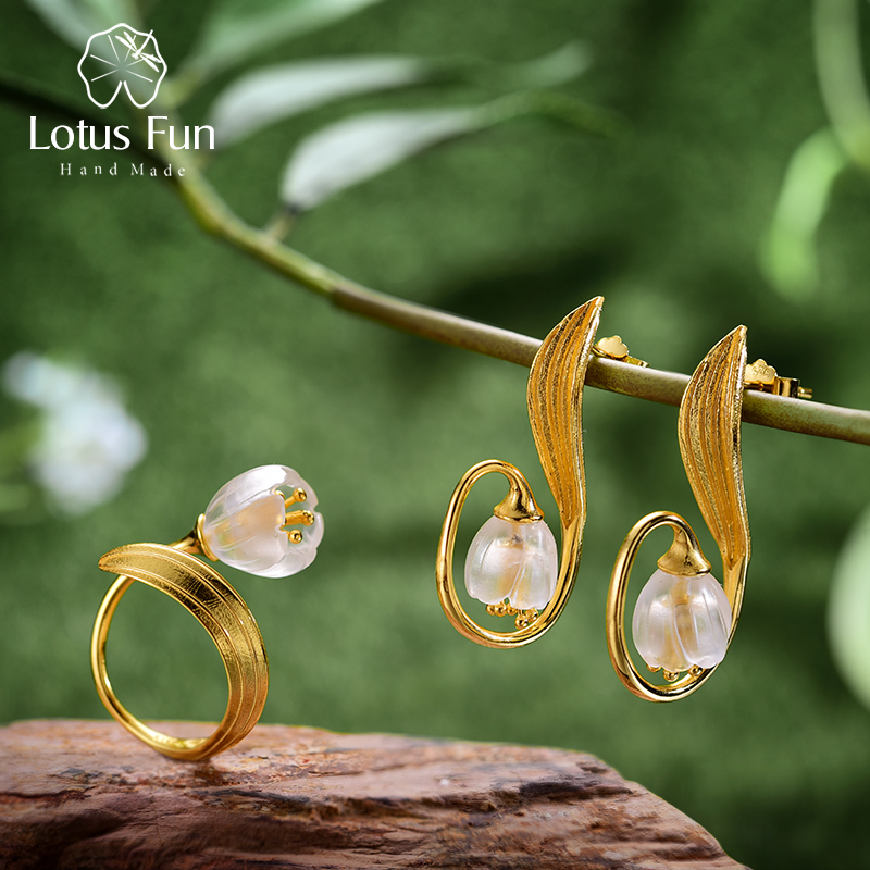 Lotus Fun Real 925 Sterling Silver Natural Crystal Handmade Fine Jewelry Lily of the Valley Flower Jewelry Set For Women lotus fun real 925 sterling silver handmade fine jewelry natural crystal lily of the valley flower brooches for women brincos