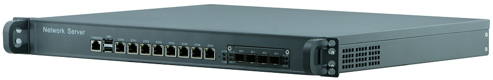 1U 8 LAN 4 SPF Rack Firewall Router Network Server With 4G RAM 64G SSD RJ45 I3-4130  Support ROS Mikrotik PFSense Panabit Wayos