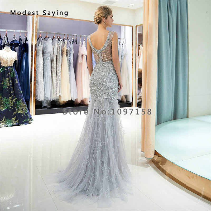 ... Luxury Silver Mermaid Ostrich Feather Evening Dresses 2019 with Rhinestone  Formal Beaded Sparkly Engagement Party Prom ... 3797e2642d00