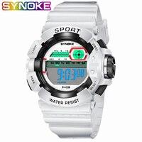 Synoke nova chegada colorido à prova dwaterproof água crianças esportes relógio meninos digital led data de alarme digital multi-função relógios