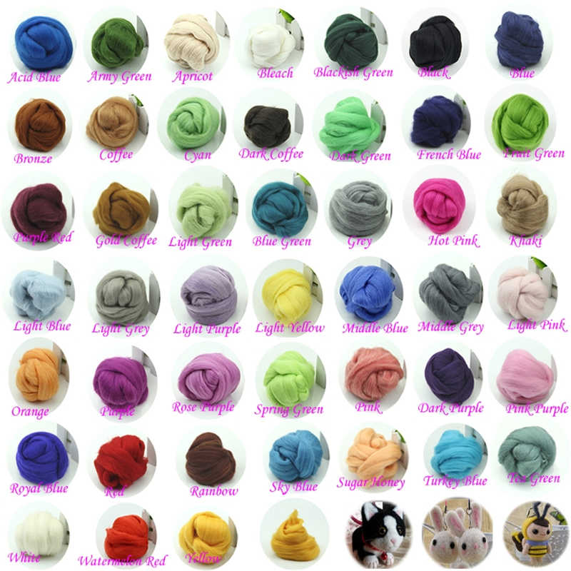 20 Colors Wool Corriedale Needlefelting Top Roving Dyed Spinning Wet Felting Fiber