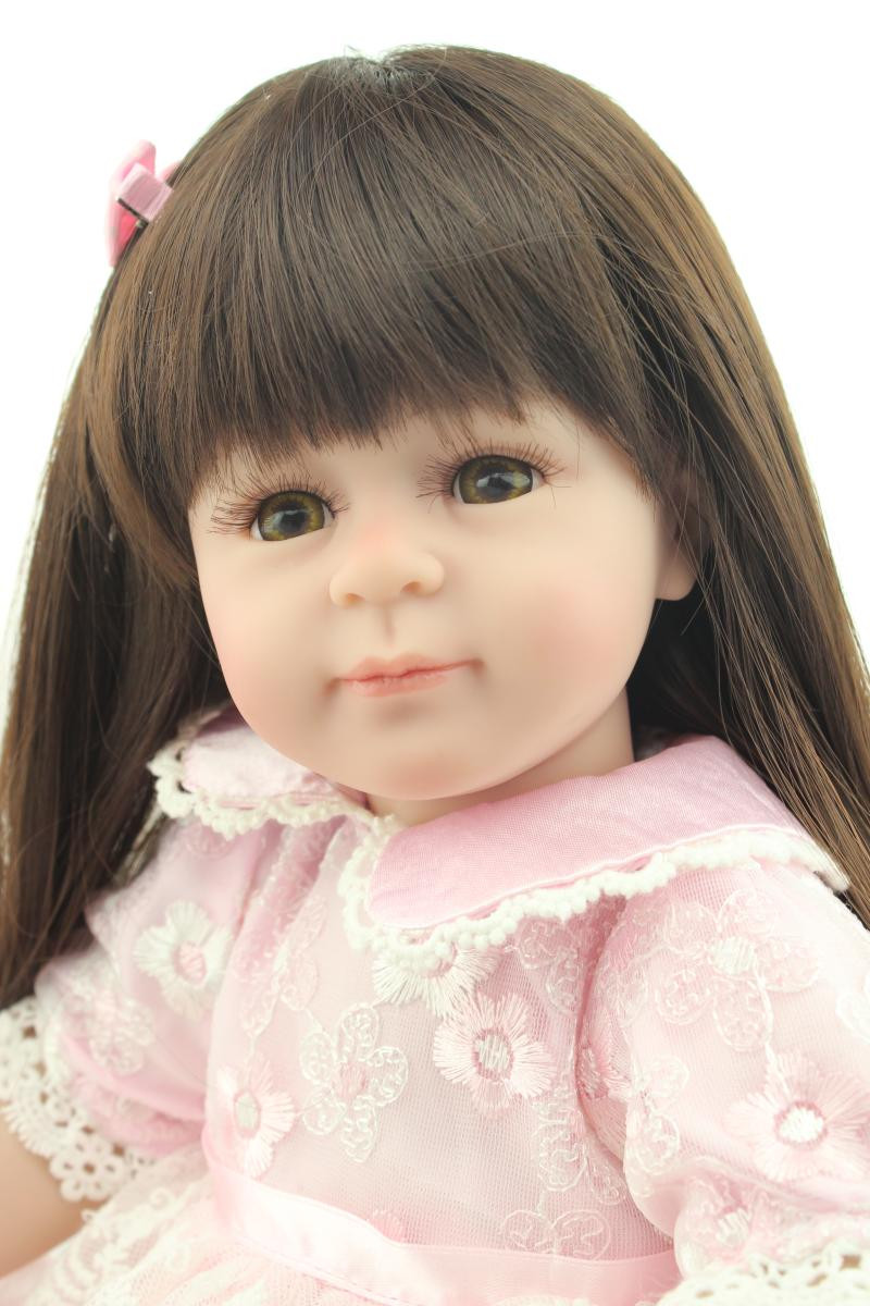Lovely Silicone Girl Doll with Pink Dress and Shoes, 18 Inch Lifelike Baby Princess Doll Kids Toy Free Shipping  18 inch lovely american girl princess doll baby toy doll with fashion designed dress journey girl doll alexander doll