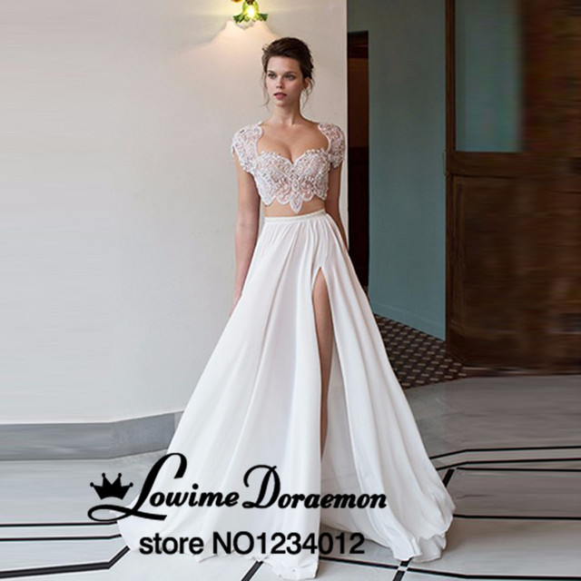 fab9bdc1d3997 2 Pieces Side split Prom Dresses vestido de festa 2016 HOT Beading White  Chiffon Beach Prom Dress Sexy V Neck Evening Gowns 2017-in Prom Dresses  from ...