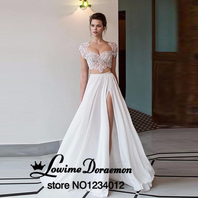 7a2e464949 2 Unidades Secundarios dividir Vestidos de Baile vestido de festa 2016  CALIENTE abalorios Blanco Playa de