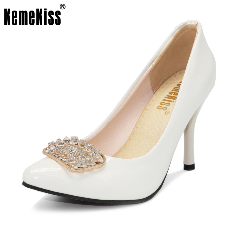 KemeKiss Size 32-43 Ladies High Heel Shoes women Pointed Toe Thin Heeled Wedding Bowtie Shoes Patent Leather Slip-On Sexy Pumps p23128 women patent leather thin heel pumps elegant pointed head stiletto fashion simple style ladies heeled shoes size 33 42