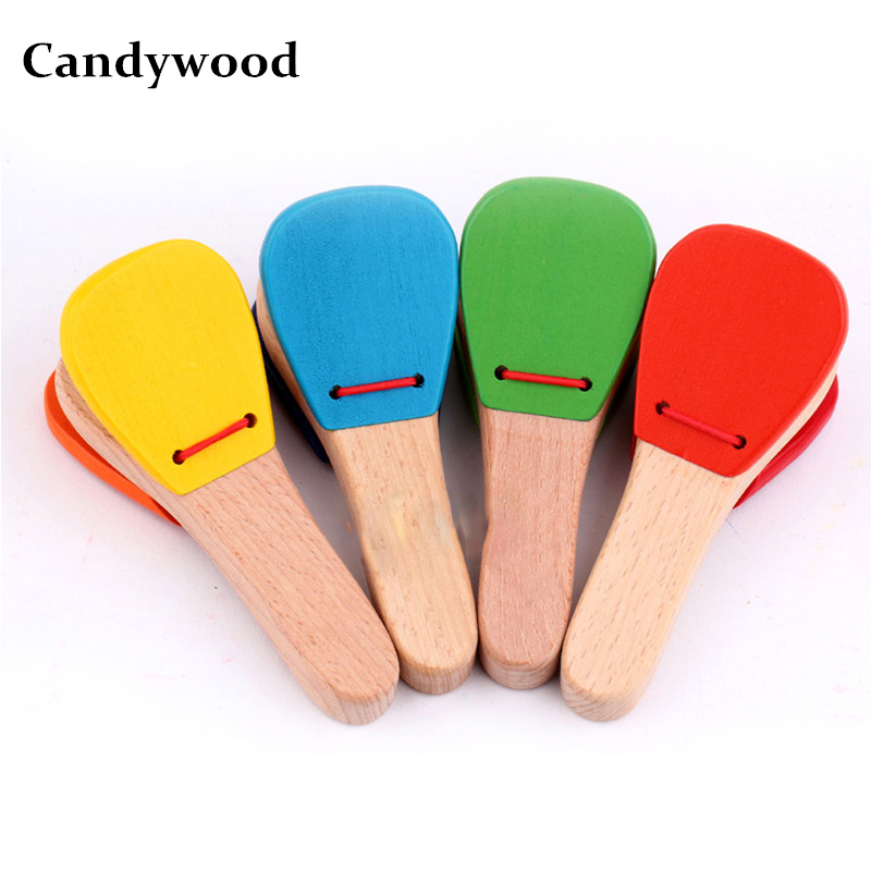 Baby kids Wooden toy Musical Instrument Castanet Clapper Handle Musical Instrument Toy For Children Preschool Early Educational