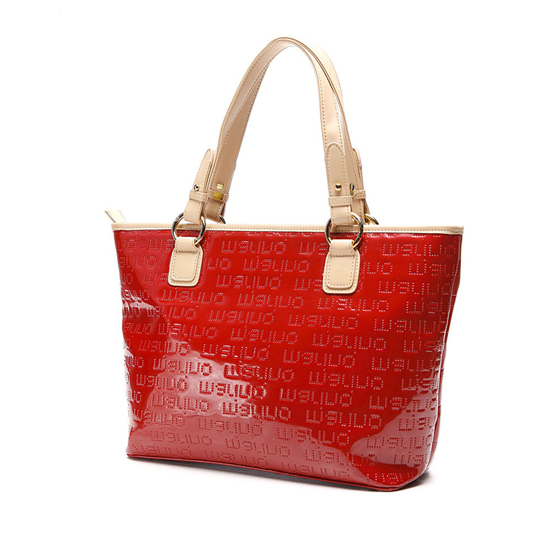 Bright Red Embossing Tote Bag Women Large Capacity Hand Bag Stylish Contrast Color High Quality Ladies