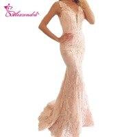 Alexzendra V Neck Mermaid Prom Dresses Illusion Back Applique Sexy Evening Dresses Party Dress Vestidos
