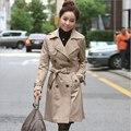 Moda estilo britânico lapela trench coat para as mulheres casual magro double breasted longo casacos casacos femininos AH-146
