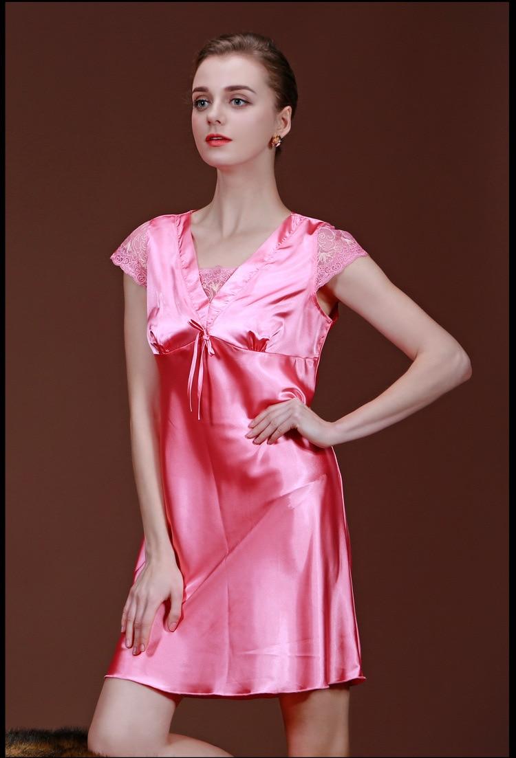 New Brand Women Night Dress Silk Satin Nightgown Silk Robe Sexy Bathrobe  For Women Short Sleeve Lace Nightdress Night Gown SQ008-in Nightgowns    Sleepshirts ... d1eb38966fa8