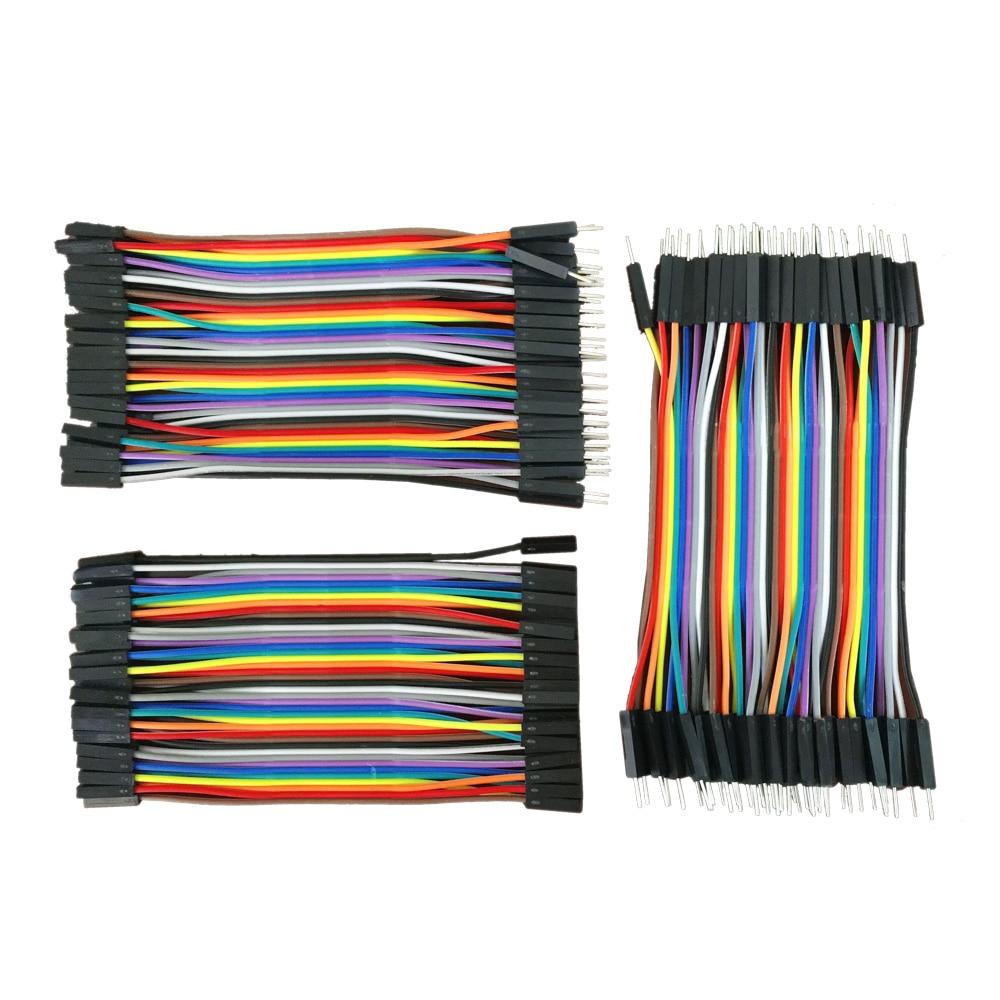 Línea Dupont, 120 Uds., 10cm, macho a macho + macho a hembra + hembra, cable de puente hembra a hembra, cable Dupont para arduino