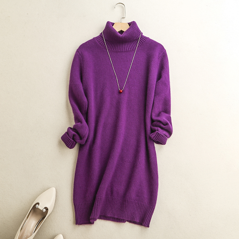Casual Cashmere Sweater Dress Women Winter Warm Long Pullover Knitted Loose Dresses Turtleneck Thick Long Sleeve Mini Dress 2017 hiawatha 2017 autumn winter knitted dress women turtleneck solid color sweater dresses female long sleeve vestidos l8150