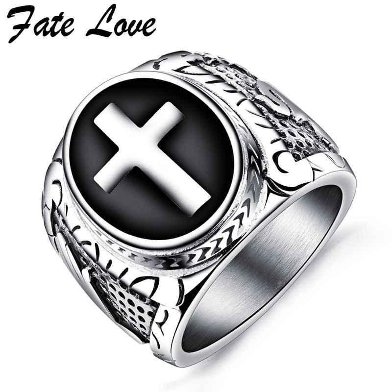 8fd1b7c9ed38 Fate Love для мужчин кольцо Винтаж крест ювелирные изделия панк нержавеющая  сталь модное кольцо на палец