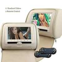 Two 2 Car Headrest Video DVD Player Pillow 7Inch Digital LCD Screen Monitor Multimedia Player With