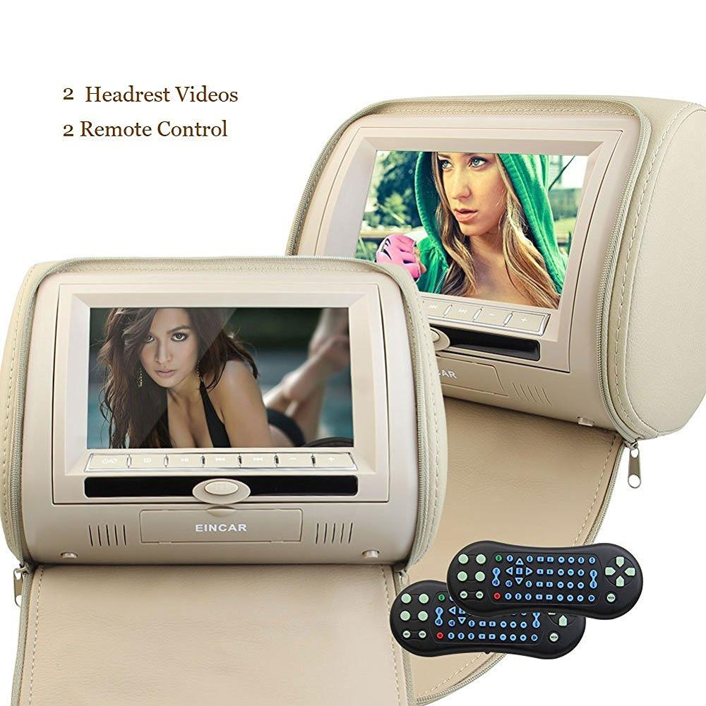 Two 2 Car Headrest Video DVD Player pillow 7Inch Digital LCD screen Monitor Multimedia Player with Remote Control FM Transmitter eincar car 9 inch car dvd pillow headrest two monitor lcd screen usb sd 32 bit game fm ir multimedia player free 2 ir headphones