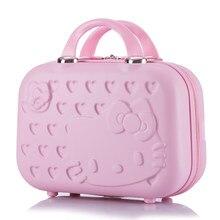 0e0a61c78 Caliente 14 pulgadas bolsa de cosméticos de negocios hello Kitty girl  trolley caso ABS casual equipaje de viaje mujer Almacenami.