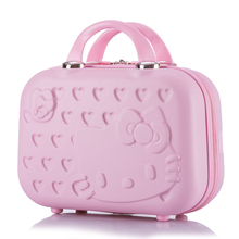 HOT 14inch Business Cosmetic bag hello Kitty girl trolley case ABS casual Travel luggage w