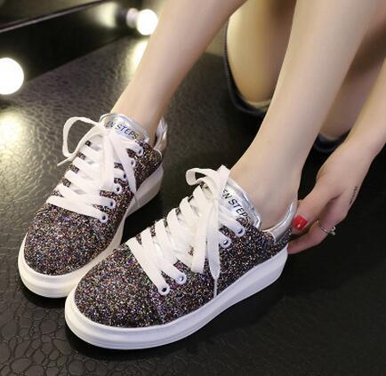 Venta Manera de Las Mujeres zapatos de Plataforma de Plata Brillan 2016Hot Heighten Deporte Gruesa Talón Para Caminar Casual zapatos Planos de Envío Gratis
