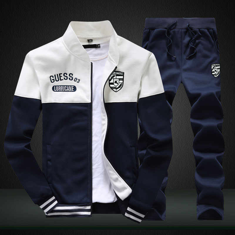Riinr 真新しい男性セットファッション秋春スポーツスーツトレーナー + スウェットパンツ紳士服 2 個セットスリムトラックスーツ