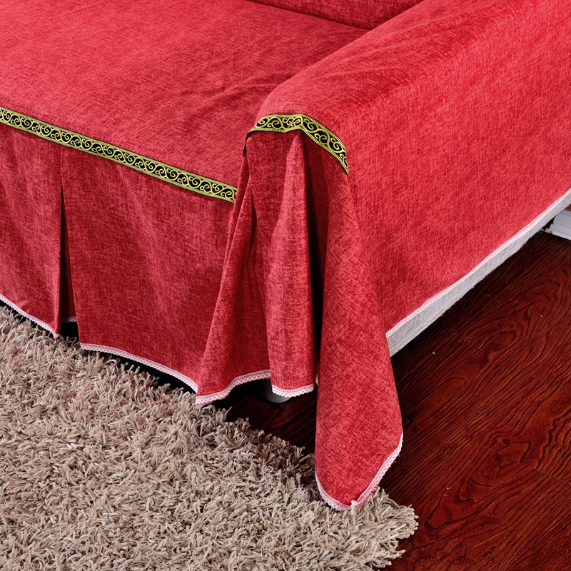 SunnyRain Thick Cotton Canvas Solid Color Red Sofa Covers L Shaped Sofa  Cover .