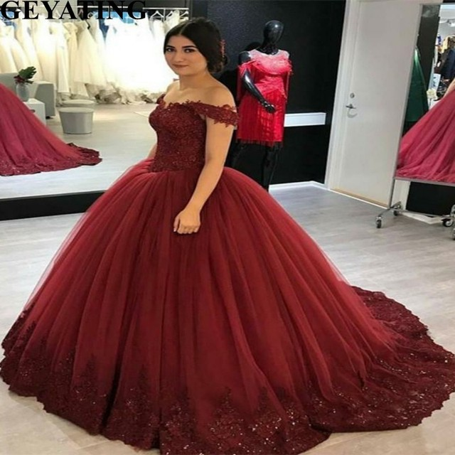 ab46ac0b3a2ce Wine Red Tulle Ball Gown Quinceanera Dress Puffy Sweet 16 Dresses 2019 Off  Shoulder Lace Appliques Plus Size Debutante Gowns