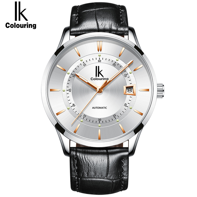 IK Classic Mens Watches AUTO Date automatic Mechanical Watch Self-Winding Analog Skeleton Male Waterproof Man Wristwatch