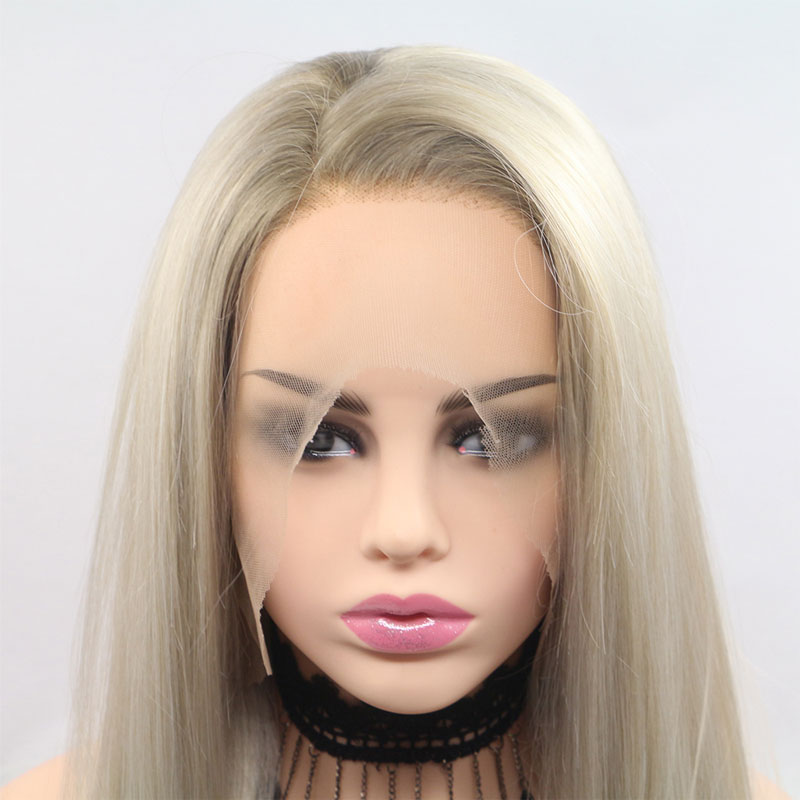 Bombshell Dark Roots Ombre Platinum Straight Synthetic Lace Front Wig Heat Resistant Fiber Natural Hairline For