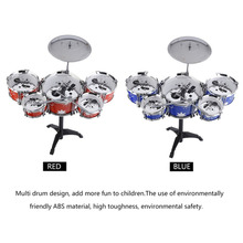 Plug Size Lightweight Mini Children Kids Practicing Drum Instrument Portable ABS Stainless Steel Drum Set With Chair