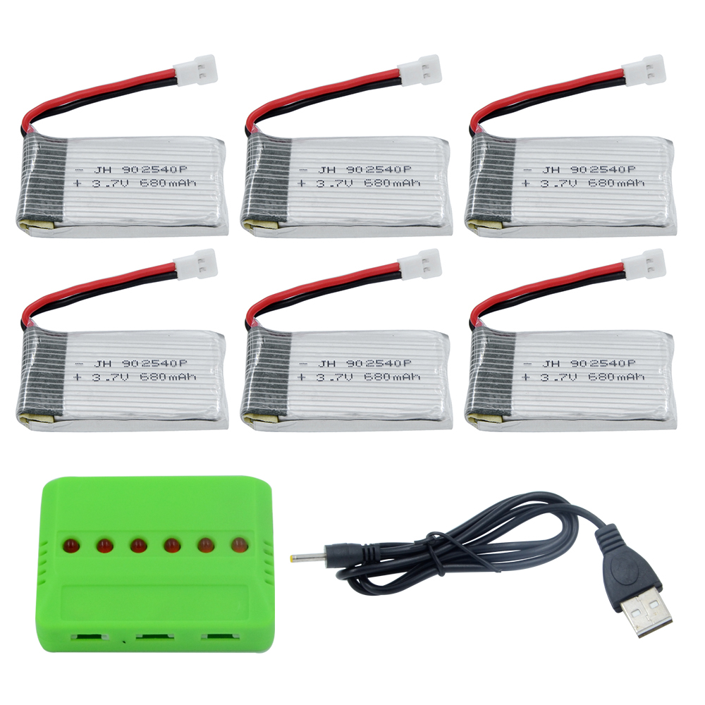 syma X5C Battery 6pcs batteries with 6 in1 Charger With 680mAh 25C Upgrade Lipo Battery For X5sw X5C RC helicopter Battery Parts стоимость