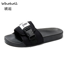купить Men Shoes Solid Flat Bath Slippers Summer Sandals Indoor & Outdoor Slippers Casual Men Non-Slip Flip Flops Beach Shoes 5.5-9.5 по цене 919.99 рублей