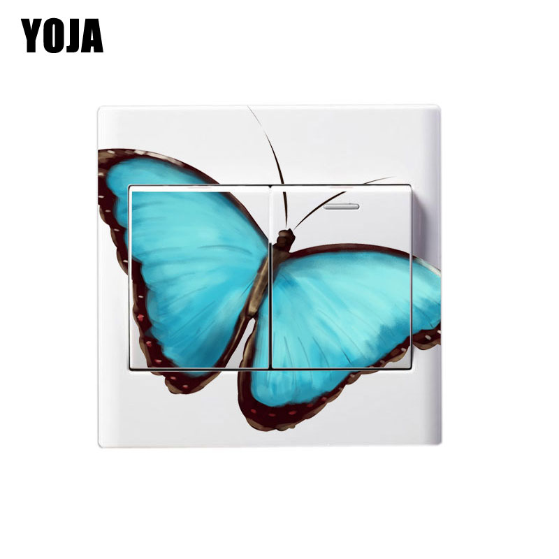 YOJA Blue Aesthetic Butterfly Personality Animal Living Room Bedroom Switch Decal PVC Wall Sticker Decor 8SS0384