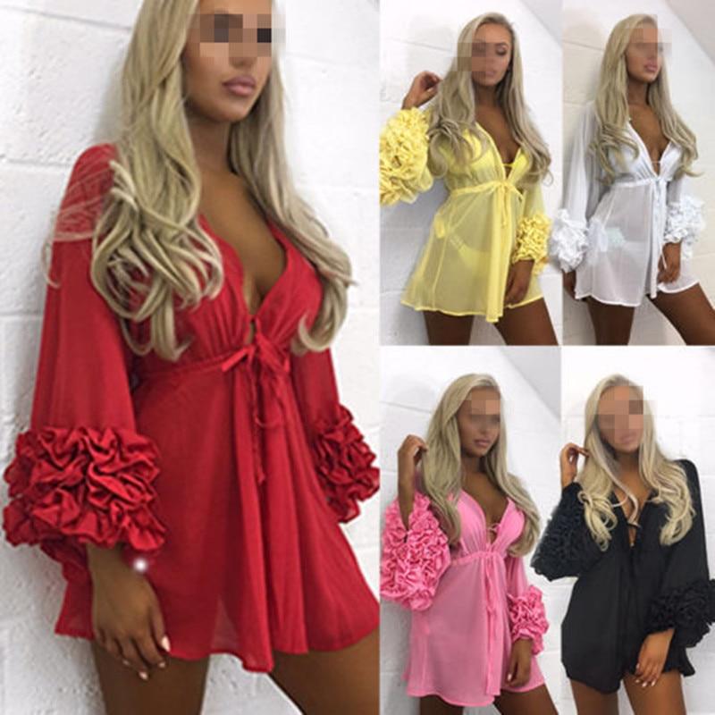 Knit Cinco Con Sexy Hollow Tamaño Casual Mujeres Blusa Playa Cuatro Tops Up Color Verano Florales Nylon Cover Out vq8dY