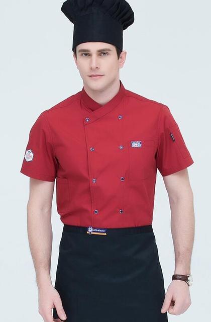 Tongliang Veste de Chef Cuisinier Professionnel /à Manches Courtes Veste Cuisine Professionnel Unisexe Uniforme pour Homme et Femme Blouse Adulte Universelle avec Poche Manteau Rouge 3XL