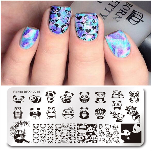 BORN PRETTY Cute Panda Image Rectangle Nail Stamping Plate Manicure ...