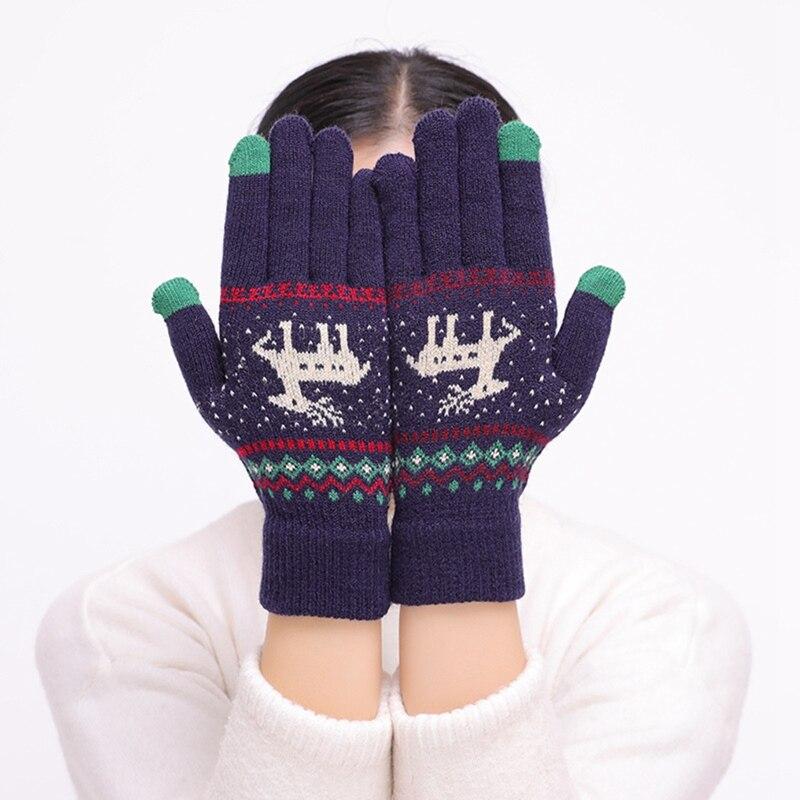 Winter New Gloves Touch Screen Mittens For Women Female Gloves Girls Christmas Gift Cute Elk Deer Knitted Gloves Full Finger