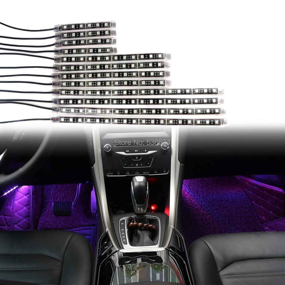 12*RGB LED Strip Light Car Interior Lighting kit car Atmosphere Lights Decoration Lamp Remote control atmosphere light new 12v 4 in 1 interior voice control led atmosphere light lamp 8 color rgb car decoration foot strip light with controller