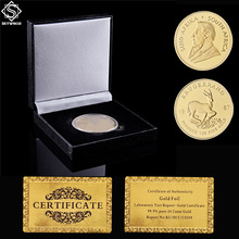 1967 1OZ South Africa Krugerrand Value Replica Gold Plated Coin W/ Luxury Display Box