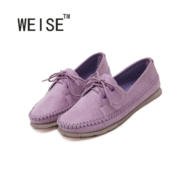 WEISE New Arrival 2017 Flat Shoes Women Flats Shoes Woman Ladies Bowtie Slip On Wedding Shoes 3 Colors High Quality