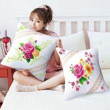 SewCrane Цветочная подушка, Набор для вышивания крестиком, Комплект подушек, красивые цветы, красная роза, 18,1 дюймов