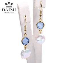 Серьги-капли DAIMI с голубым аквамариновым и Кеши жемчугом, свисающие серьги с кристаллами, 925 серебряные серьги, рождественские подарки для женщин