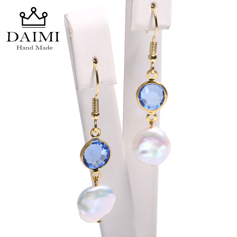 DAIMI Blue Aquamarine &Keshi Pearl Drop Earrings Sway Crystal Dangling Earrings 925 Silver Earrings Christmas Presents For WomenDAIMI Blue Aquamarine &Keshi Pearl Drop Earrings Sway Crystal Dangling Earrings 925 Silver Earrings Christmas Presents For Women