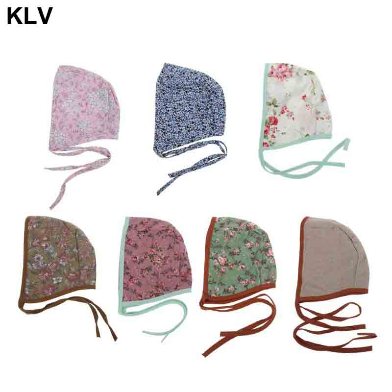 Newborn Strap Linen Floral Retro Props Cap Beanie Baby Hat