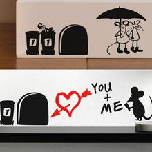 I Love You So Much 3d Funny Mouse Hole Wall Stickers Decals Living Room  Bedroom Wall Part 69